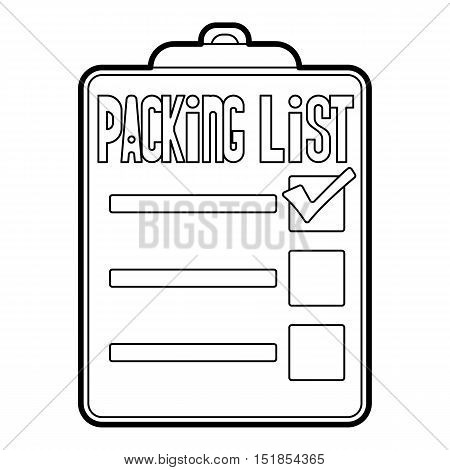 Packing list icon. Outline illustration of packing list vector icon for web