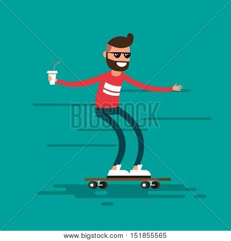 The male hipster rides on a skateboard, wearing in sunglasses and drinks coffee.Urban citizen character