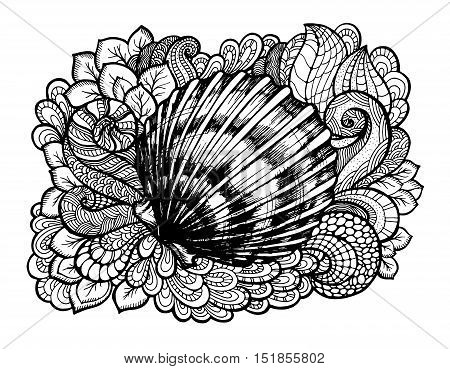 Zentangle stylized seashell with doodle swirls and leaves. Hand Drawn aquatic doodle vector illustration. Sketch for tattoo or mehendi. Seashell monochrome lineart design