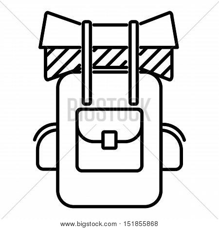 Tourist backpack icon. Outline illustration of tourist backpack vector icon for web