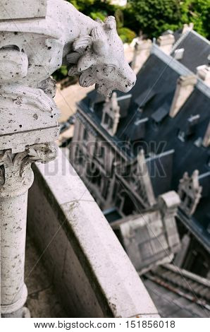 Details of the Sacre Coeur church and panorama view of Paris
