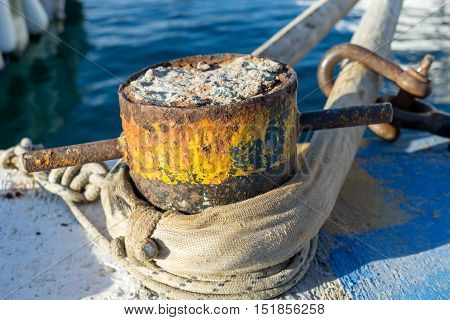 Iron pole for ship mooring in dock