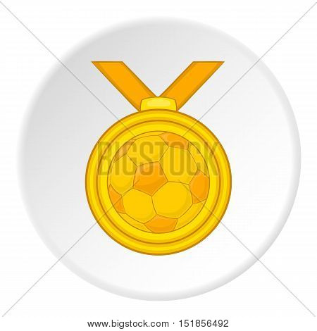 Gold medal with a ball icon. Cartoon illustration of gold medal vector icon for web