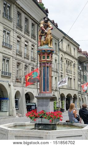The Simsonbrunnen Or Samson Fountain Is A Fountain On The Kramgasse In The Old City Of Bern, Switzer