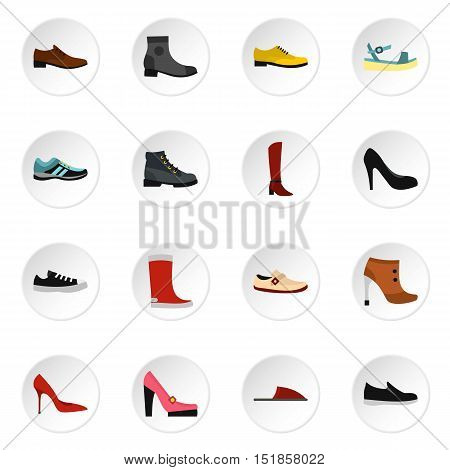 Shoe icons set. Flat illustration of 16 shoe vector icons for web