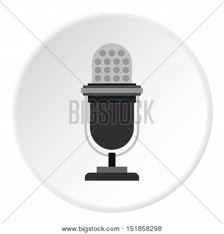Retro microphone icon. Flat illustration of microphone vector icon for web design