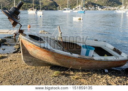 Abandoned old rusty boat on the shore 3