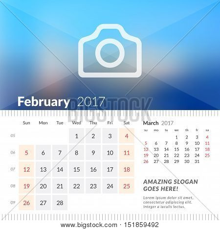February 2017. Desk Calendar For 2017 Year. Week Starts Sunday. 2 Months On Page. Vector Design Prin