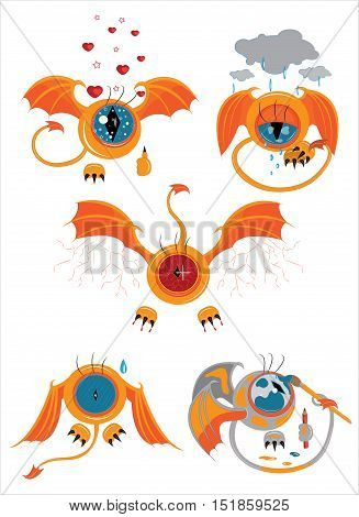 A set of eyes with wings, an avatar with emotions