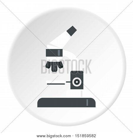 Microscope icon. Flat illustration of microscope vector icon for web design