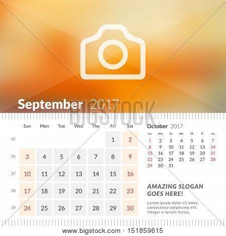 September 2017. Desk Calendar For 2017 Year. Week Starts Sunday. 2 Months On Page. Vector Design Pri