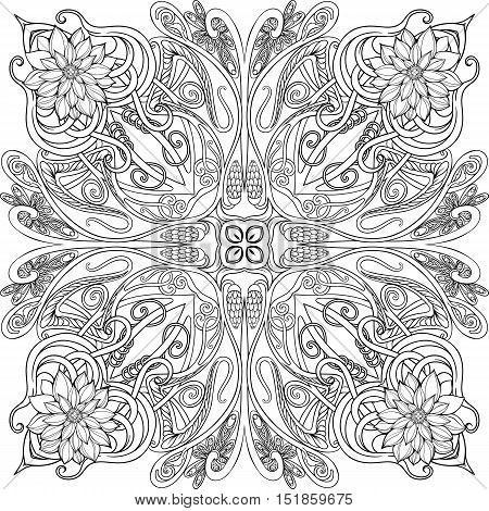 Black and white image of various floral elements symmetrically arranged. Adult coloring page