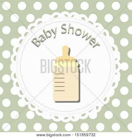 icon baby bottle. card template for design and decoration. baby shower and arrival. the congratulations and invitation. background vector illustration