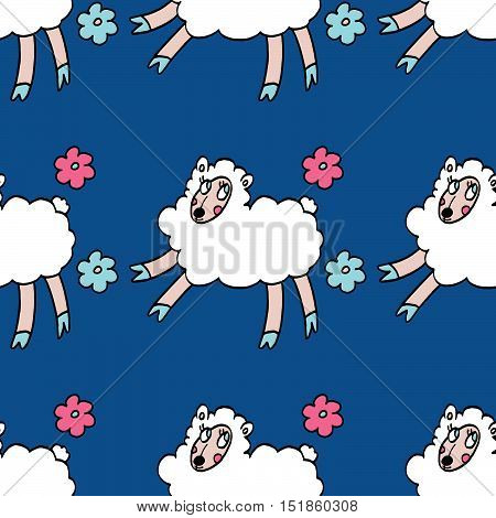 Colorful seamless pattern with white sheeps and flowers isolated on blue background. For party, designs, birthday, prints, interior decoration, wrapping paper, textile, valentines day cards.