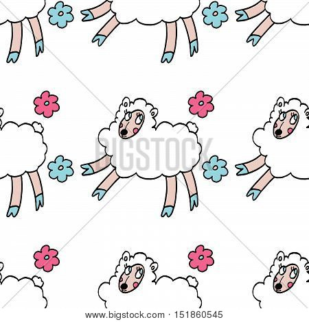 Colorful seamless pattern with white sheeps and flowers isolated on white background. For party, designs, birthday, prints, interior decoration, wrapping paper, textile, valentines day cards.