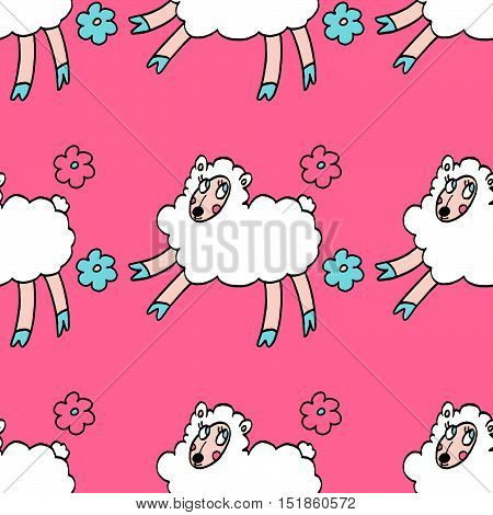 Colorful seamless pattern with white sheeps and flowers isolated on pink background. For party, designs, birthday, prints, interior decoration, wrapping paper, textile, valentines day cards.