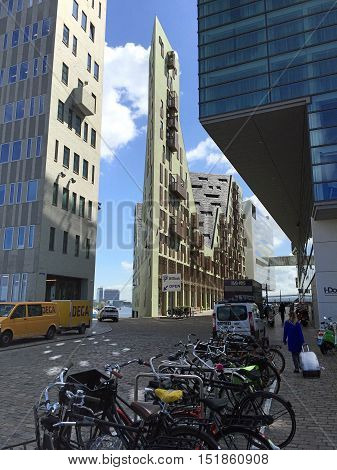 AMSTERDAM, NETHERLANDS - MAY 3, 2016: Modern architecture on IJdock district in Amsterdam, Netherlands