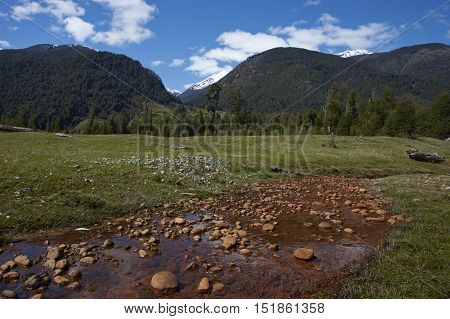 Stream tainted orange by naturally occurring oxides and bacteria, flowing across a meadow towards the River Frio on the Carretera Austral road in the Aysen Region of southern Chile.