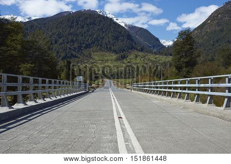 Bridge crossing the Rio Frio on the Carretera Austral road in the Aysen Region of southern Chile.