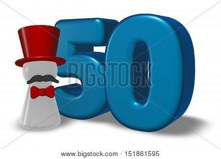 number fifty and pawn with hat and beard - 3d rendering
