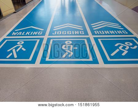 The blue running track with Distance and calories on the mall