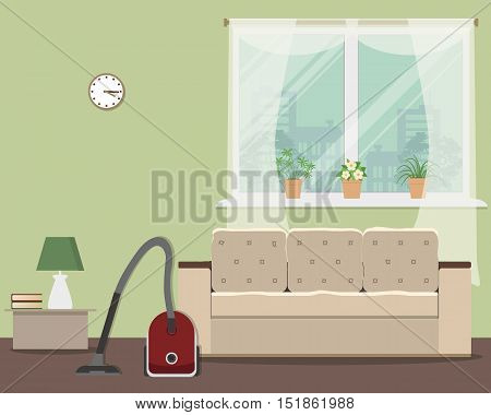 Cleaning in a living room. Vector flat illustration. There is a vacuum cleaner and sofa on a window background in a green room