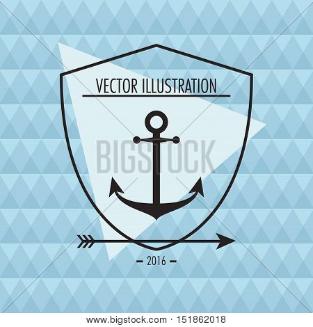 Anchor arrow and shield icon. Hipster style vintage retro fashion and culture theme. Colorful design. Vector illustration