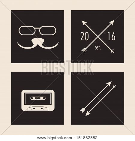 glasses mustache arrow and cassette icon. Hipster style vintage retro fashion and culture theme. Colorful design. Vector illustration