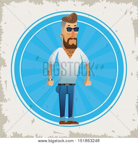 Man cartoon with mustache icon inside seal stamp. Hipster style vintage retro fashion and culture theme. Colorful and grunge design. Vector illustration