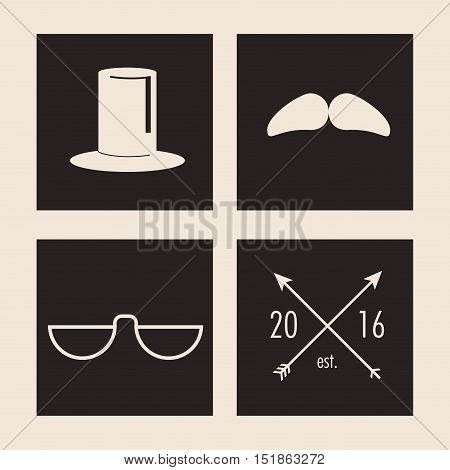 Hat mustache glasses and arrow icon. Hipster style vintage retro fashion and culture theme. Colorful design. Vector illustration