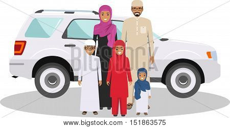 All age group of arab family. Generations man. Arab people father, mother, son and daughter, standing together in traditional islamic clothes near the car. Social concept. Family concept.