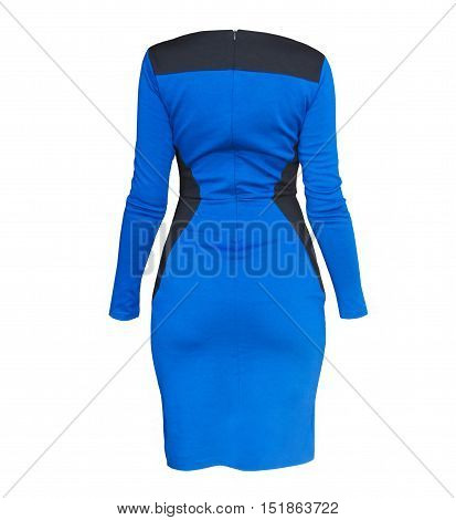 Close up shot of evening woman blue dress isolated on white. Back view.