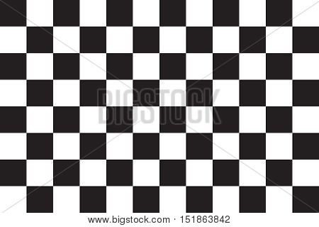 Checkered racing flag. Symbolic design of end of car race. Black and white background. Checkered flag in correct size and colors vector illustration
