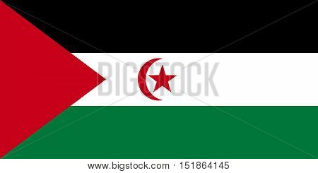 Sahrawi national official flag. Western Sahara patriotic symbol. SADR banner element background. Flag of Sahrawi Arab Democratic Republic in correct size and colors vector illustration