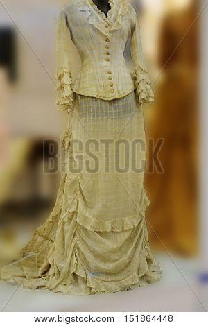 green dress, Ball, obsolete, beautiful, elegant, 19th century, Russian culture, from lightweight silk merchant