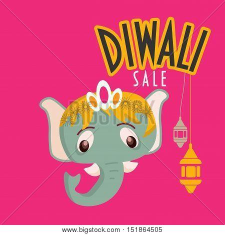 Festival of lights sale promotion. Diwali Sale poster. Diwali sale template with Ganesha head.
