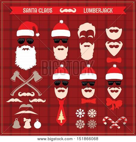 Set of Santa and Christmas elements and icons. Lumberjack style. The silhouette vector design.