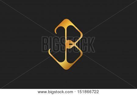 Letter B logo. Golden b letter. Elegant logo.