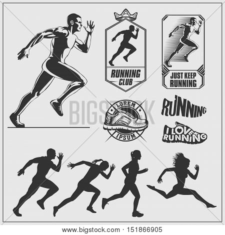 Running set. Silhouettes of running women and men, running emblems and labels.