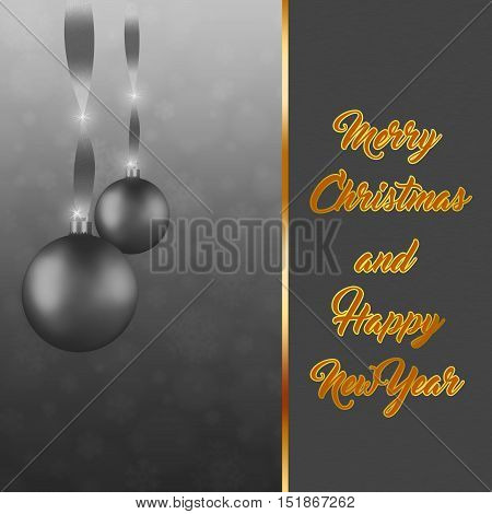 Christmas background. Festive xmas abstract silver colored background with bokehballssnow flakes and greetings card design. Xmas collection.