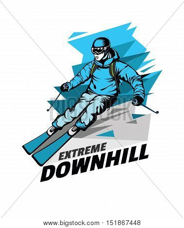 Skier on downhill. Vector illustration on abstract background.