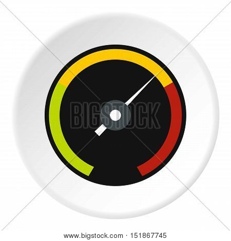Speedometer with colored stripes icon. Flat illustration of speedometer with colored stripes vector icon for web