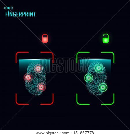 Finger print scanning process. Vector illustration. Passed on and not passed verification