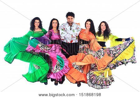 Gypsy dance group in national costumes on a white background