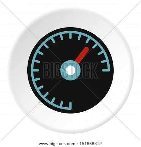 Speedometer with blue backlight icon. Flat illustration of speedometer with blue backlight vector icon for web