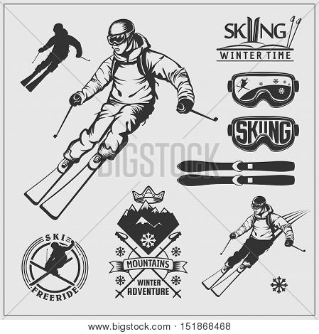 Skiing set. Ski equipment and ski kit. Extreme winter sports.