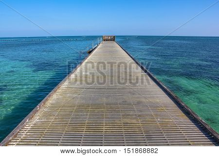 Infinity walkway pier. Wooden pier in Higgs Beach, a popular Key West beach in Florida. Infinity and freedom concept.