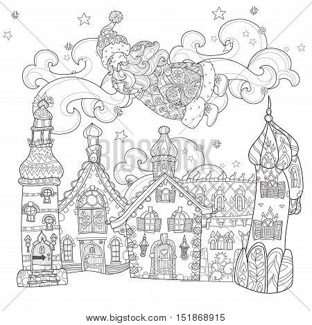 Vector cute christmas Santa Claus doodle in fairy europe town.Hand drawn line illustration.Sketch for postcard or print or coloring anti stress adult book.Boho zen art style.