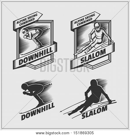 Set of labels for winter sports. Downhill and Slalom. Vector monochrome Illustration.