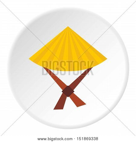 Vietnamese hat icon. Flat illustration of vietnamese hat vector icon for web